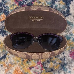 Purple printed Coach sunglasses with case